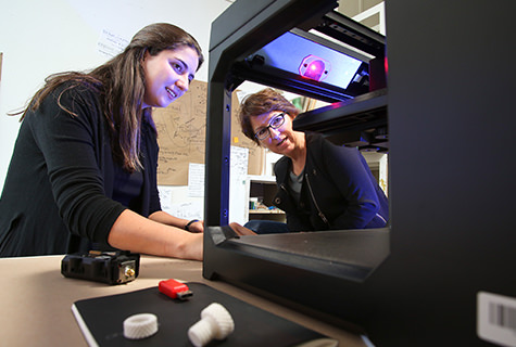 Professor Andrea Wollensak shows a student how to use a 3-D printer.