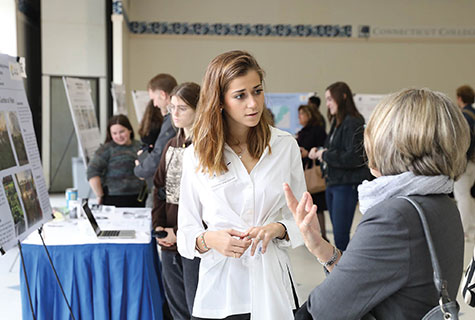 Student at a poster session