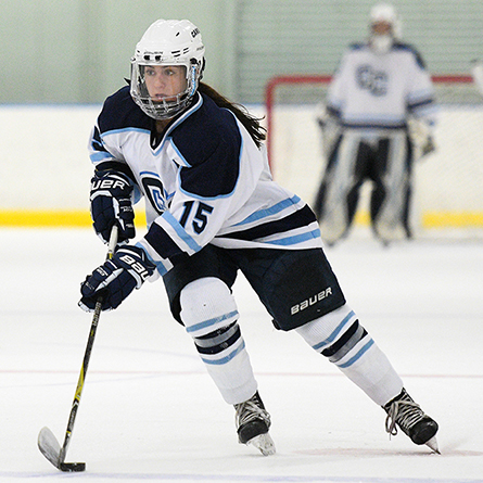 Junior Elena Gualtieri skates with the puck during the NESCAC women's ice hockey quarterfinal game at Conn Saturday