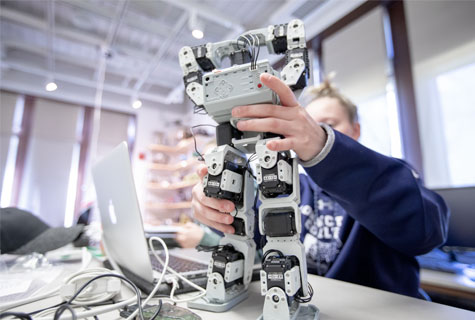 Students in the robotics lab.